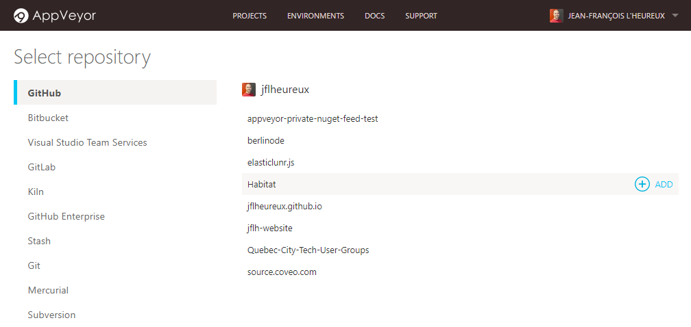 Add an AppVeyor project from GitHub
