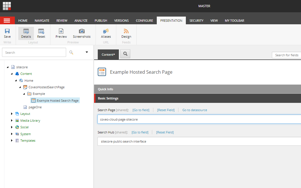 Sitecore Hosted Search page component
