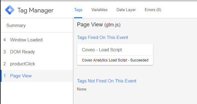 Using Coveo's Google Tag Manager Templates to Log Analytics